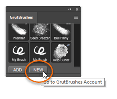 click 'new' to download a photoshop brush directly from the website into photoshop