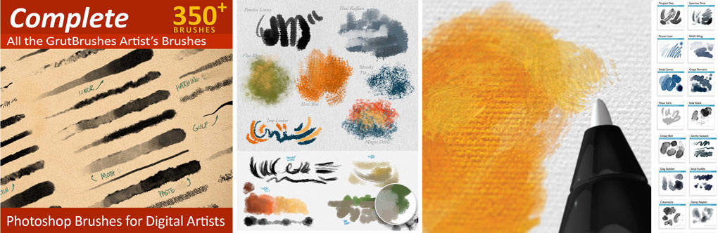350 Pressure Responsive Photoshop Brushes for Digital Painters, Illustrators and Designer