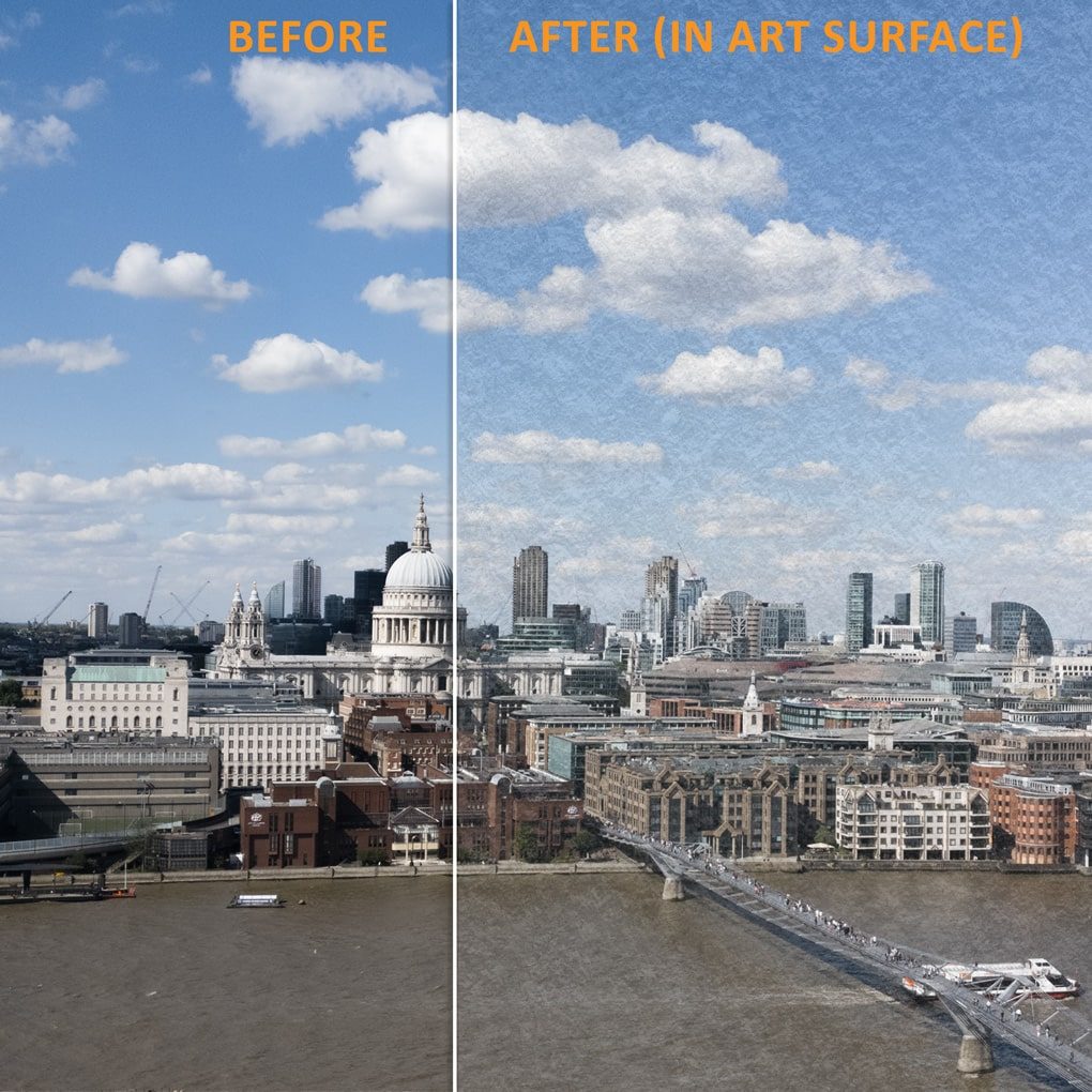 "The effect of placing a photograph in the Art Surface with the ""Basic"" Surface style applied (one of 8 styles)"